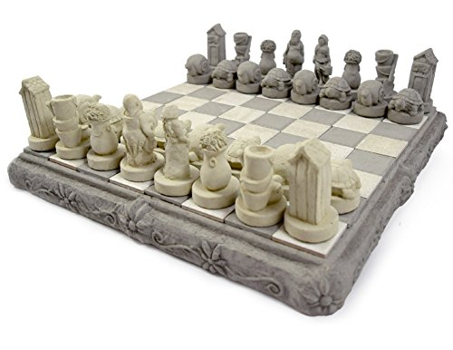 American Made Heavy Cast Stone Outdoor Chess Set with Garden Motif, 16.5'' by Modern Artisans