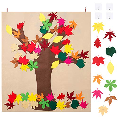 Ticiaga DIY Craft Kit Felt Fall Tree Board With 55pcs Detachable Autumn Leaf Ornaments, Maple Leaves Of Classroom Thanksgiving Game Activity, Autumn Bulletin Board for Kids, Wall Hanging Decoration (Best Thanksgiving Board Games)