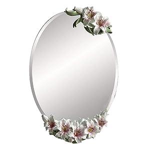 LIU UK Makeup Mirror Miroir Suspendu Lily, Miroir de Meuble pour Salle de Bain - Miroir sculpté européen - Miroir décoratif - 70x47cm (Couleur : Pink)