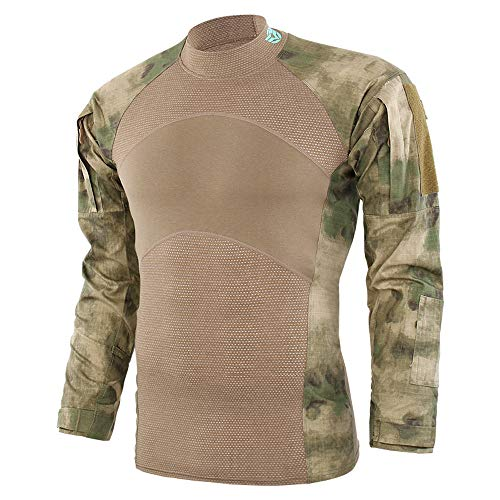 Clearance Deals,WUAI Mens Casual Shirt Tactics Camouflage Long-Sleeve Beefy Muscle Basic Solid Tee Shirt (Khaki,US Size XL = Tag 2XL)