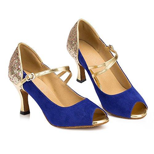 Tda Dames Peep Toe Mary Janes Suede Latin Modern Salsa Tango Ballroom Bruiloft Dansschoenen Blauw
