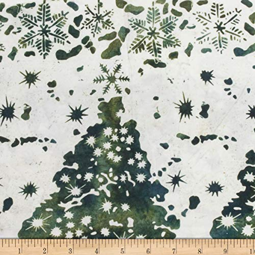 Northcott Winter Light Fireside Green Fabric by The Yard (Christmas Tree Batik)