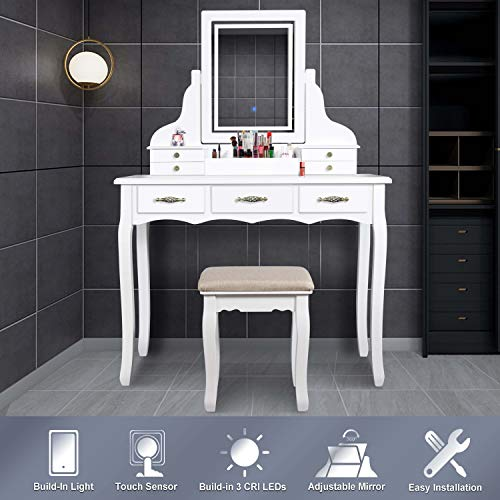 LED Vanity Table,7 Drawers Makeup Dressing Table with Cushioned Stool-White (Table Makeup Cheap Vanity)
