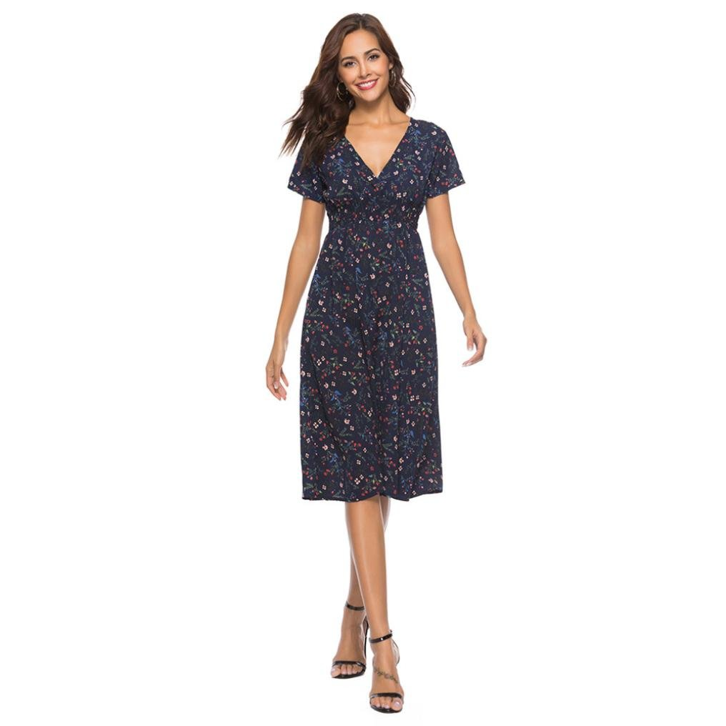 Amazon.com  Dacawin Womens Dress-Ladies Summer V Neck Holiday Floral Print  Casual Beach Dress (Navy e25e4b523