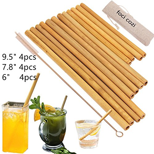 "Organic Bamboo Drinking Straws. Reusable Bamboos Straws Alternative to Plastic Kids Straws. Set of 12 Reusable Bamboo Straws with 3 Sizes 6"", 8"", 9""for different size Cups - Includes 1 Bonus Nylon C"