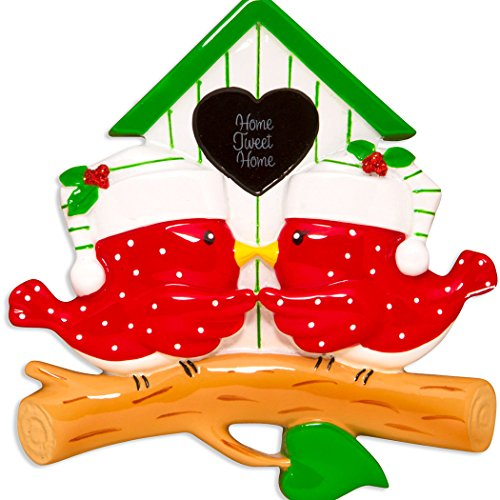 Personalized Bird-House Family of 2 Christmas Tree Ornament 2019 - Red Home-y Couple Hug Kiss Branch Tweet House Love Romantic New Apartment Friend Together Year - Free Customization
