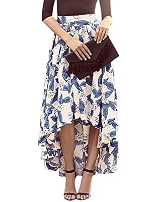 Zeagoo Women's High Low Floral Print Bohemian Pleated Style Casual Maxi Long Skirt with Tied Belt