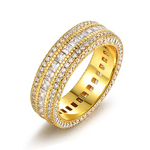 (Barzel 18k Gold, Rose Gold or White Gold Plated 5 Rows Cubic Zirconia Wide Band Statement Cocktail Eternity Band Ring Jewelry (Gold,)