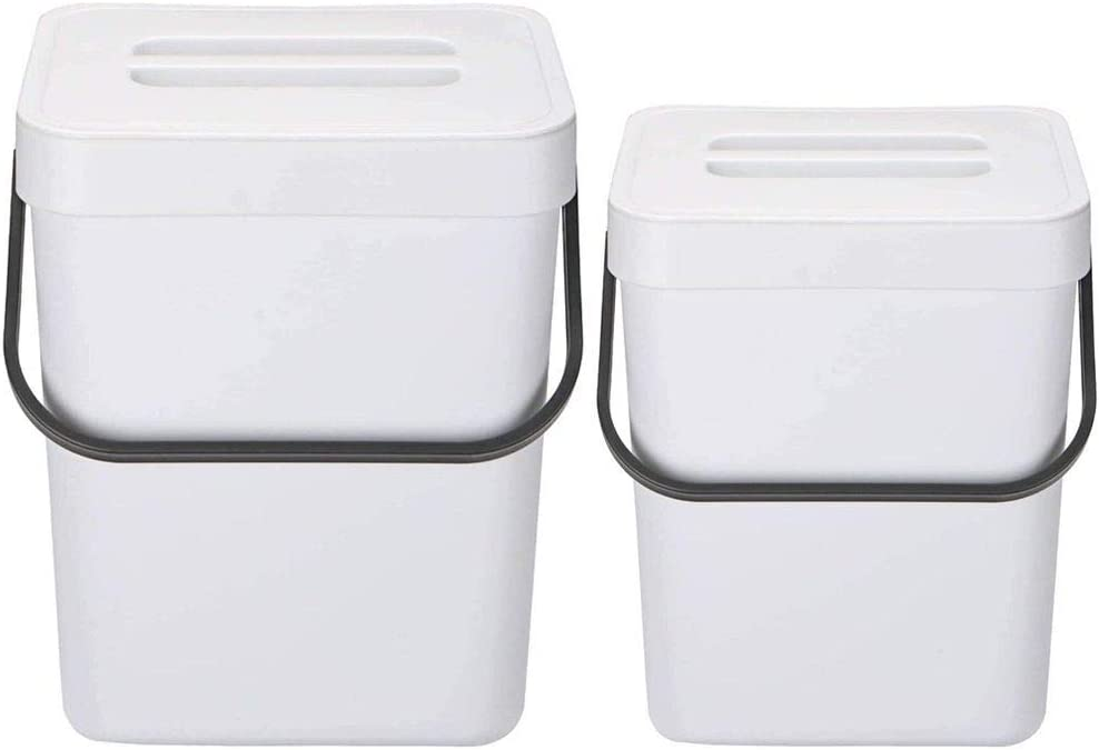 Beautylover 2 Pack Compost Bin for Kitchen, Mountable Compost Bucket Hanging Waste Bin for Kitchen, Kitchen Compost Bin for Countertop or Under Sink Composting, White