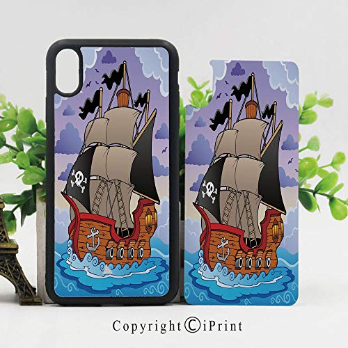 iPhone X Case,Mysterious Stormy Seas with Sailing Vessel Flags Swirled Waves Heavy Clouds Cartoon Decorative iPhone X Shockproof Protective Case TPU Bumper Compatible Apple iPhone X 5.8