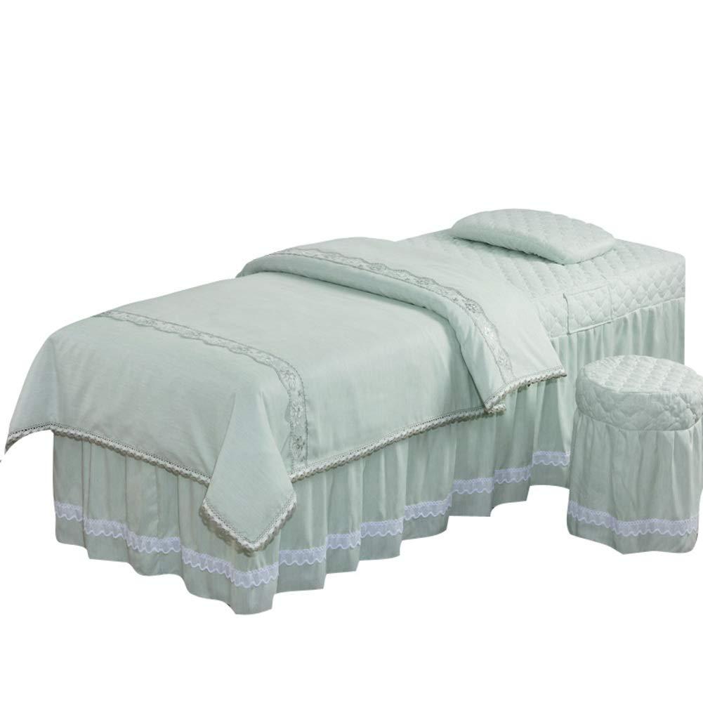 欧州 マッサージ テーブル シート セット インサート付き,単純な色 綿 美容ベッド カバー 4 作品 マッサージビューティーサロン ベッド ベッドスカート-グリーン B07S74WY1M