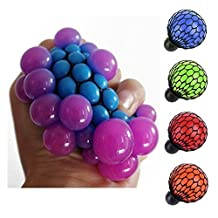 Pinovk Anti Stress Face Reliever Grape Ball Autism Mood Squeeze Relief Healthy Funny Tricky Toy Funny Geek Gadget Vent Toy (Blue)