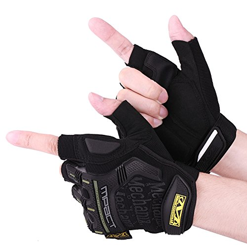 eecoo Unisex Outdoor Cycling Gloves, Half Finger Protective Biking Gloves Touch Screen Winter Warm Sports Gloves, Waterproof Windproof Anti-slip Gloves for Motorcycle Bicycle Biking Racing(L-Black)