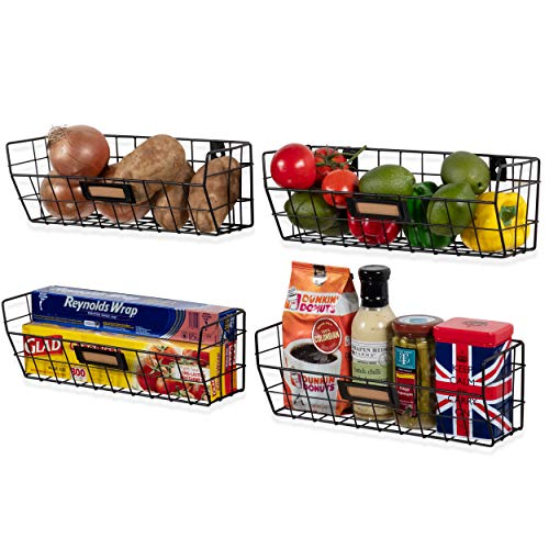 Wall35 Macon Wall Mounted Kitchen Storage Metal Wire Fruit Basket Set of 4 Black ()