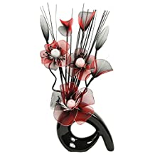 Flourish 793395 QH1 Black Vase with Red and Black Nylon Artificial Flowers in Vase, Fake Flowers, Ornaments, Small Gift, Home Accessories, 32cm by Flourish