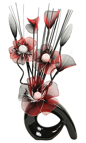 Flourish 793395 QH1 Black Vase with Red and Black Nylon Artificial Flowers in Vase, Fake Flowers, Ornaments, Small Gift, Home Accessories, 32cm (Red Vase Set)