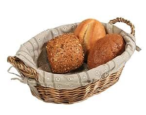 Kesper 17905 - Cesta para el pan de mimbre con forro de tela, 32/23 x 13 cm, color beige