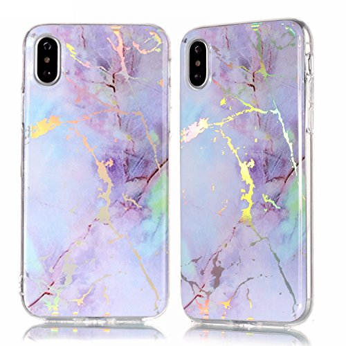 iPhone X Case, iPhone 10 Case,Glossy Marble Pattern Slim Hard Soft Silicone Back Case Cover Fit for Apple iPhone X (2017) (Colored Purple) - Colored Marble