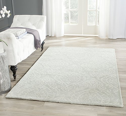 Safavieh Bella Collection BEL445A Handmade Silver and Ivory Premium Wool Area Rug (9' x 12')