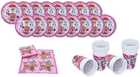 ALMACENESADAN 2163; Pack Desechables Plus LOL Surprise; Ideal para Fiestas y cumpleaños; Compuesto por; 16 Platos cartón 23 cm; 16 Vasos plástico 200 ...