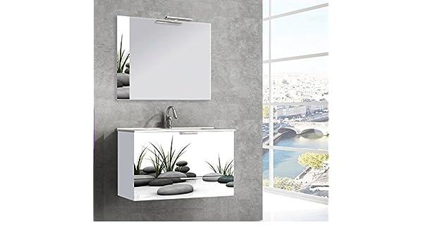INBAÑO Mueble de baño 80 cm Frente Decorado + Encimera Loza + Espejo Decorado.: Amazon.es: Hogar
