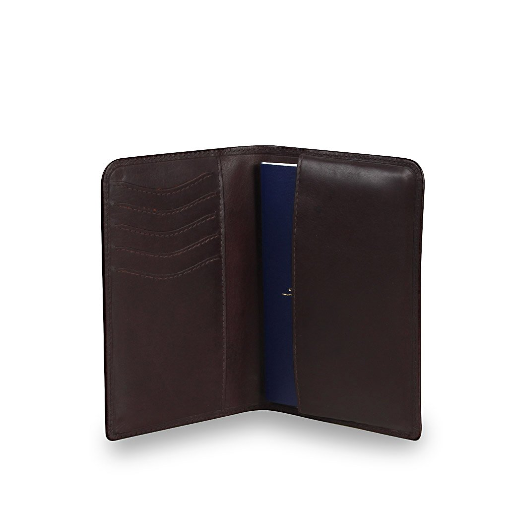 Chase Leather RFID Slim Passport Holder, Eco Friendly Leather, Gift Boxed - Zoomlite (Brown)