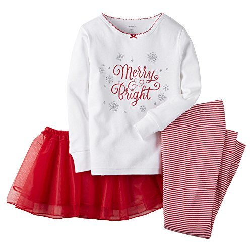 Carter's Baby Girls' Christmas 2-piece Cotton Pjs with Tutu (Red/White)