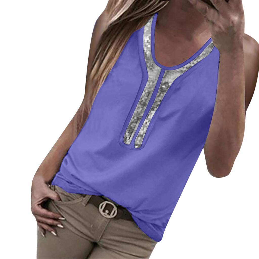Women Blouses and Tops Fashion 2019 Sexy Sequins Summer Tank Top O-Neck Blouse Sleeveless T-Shirt Purple