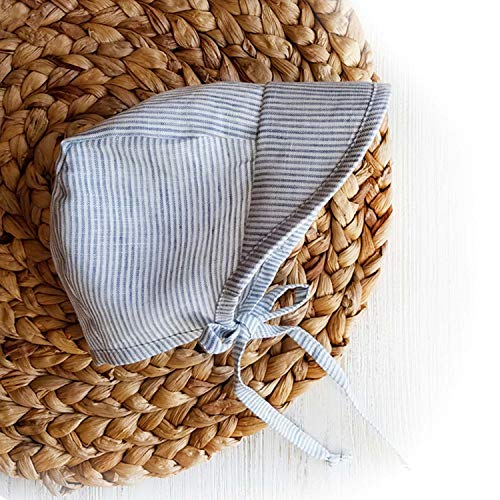 (Baby Boy Summer Sun Hat Cap Bonnet Natural Linen Visor Hat Country Vintage Baby boy Beach hat (Blue Stripes, 12-18))