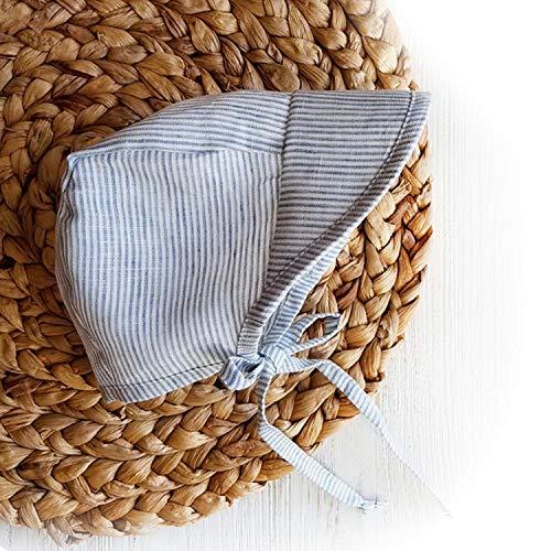 - Baby Boy Summer Sun Hat Cap Bonnet Natural Linen Visor Hat Country Vintage Baby boy Beach hat (Blue Stripes, 6-12)