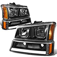 Chevy Silverado/Classic/Avalanche LED DRL Halo Headlights+Turn Signal Lights(Black Housing Amber Corner)