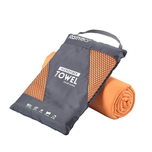 Rainleaf Microfiber Towel, 20 X 40 Inches. Orange.
