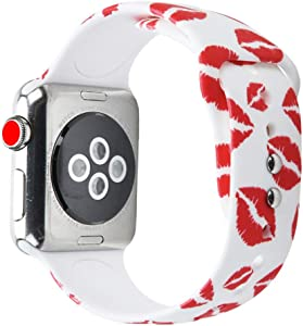 Compatible with Apple Watch Band 40mm 38mm Red Lip,Women Girl Soft Silicone Replacement Sport Strap for iWatch Series 1 2 3 4 White (38mm&40mm)