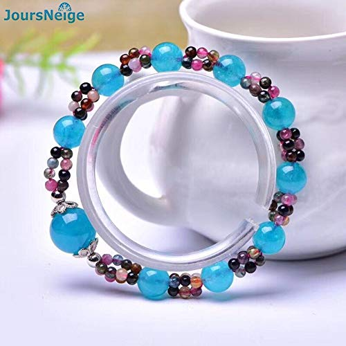 Blue Crystal and Tourmaline Stone Bracelets | Round Beads Bracelet | Lucky for Men Crystal Bracelet -