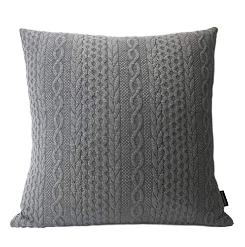 Booque Valley Decorative Pillow Cover, Soft Elegant Modern Embossed Patterned Cushion Cover Throw Pillow Case for Sofa Bed Car Chair, 20 x 20 inch Single Piece(Dark Grey) (Throws Single Bed)