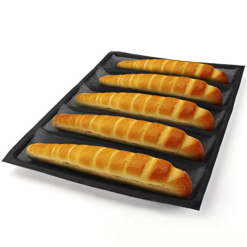 Silicone Bread Forms, Beasea Rectangle Shape Hot Dog Bread Molds Non Stick Bakery Tray Fiberglass Loaf Sheets Bread Bun Pan (5 Molds)