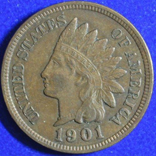 1901 U S  Indian Head Cent Full Liberty Full Rim 1C Fine To Xf