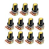 uxcell 11Pcs 10K Ohm Variable Resistors Single Turn Rotary Carbon Film Taper Potentiometer with Knobs