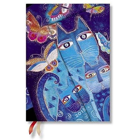 Paperblanks – Gatos en azul con mariposas de Laurel Burch - Calendario 2018, formato midi, vista semanal vertical - En alemán: Amazon.es: Oficina y ...