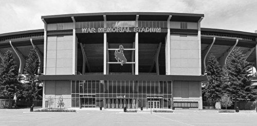 Vintography 18 x 24 B&W Photo War Memorial Stadium at The University Wyoming in Laramie, Wyoming. The stadium's Logo evokes The university's Sports Teams' Nickname: The Cowboys 2015 Highsmith 64a