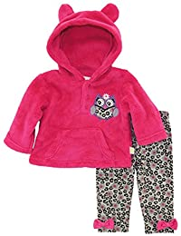 Duck Goose Baby Girls' Owl Sherpa Ear Hoodie 2 Piece Pant Outfit Set, Pink, 6-9 Months