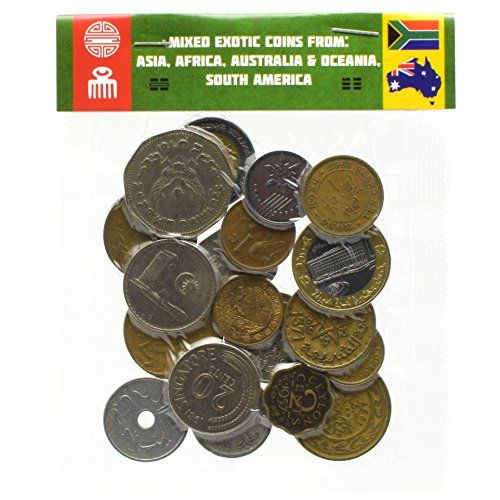 20 Exotic Coins from Asia, Middle East, Africa, Oceania, South America. Collectible Coins, Old Coins for Your Coin Album, Coin Bank or Coin Holders