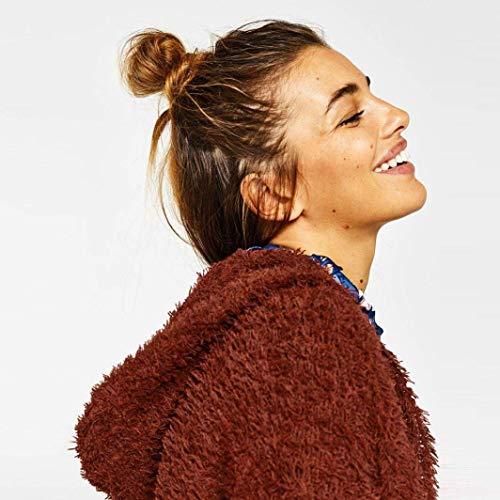 Manteau Femme Facile Printemps Automne Loisir Long Manches Ouvert Cardigan Mode Chic Elgante Longues  Capuchon Couleur Unie Baggy Manteau De Transition Outwear Braun