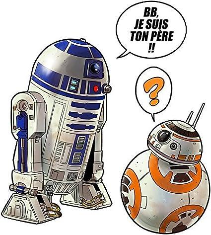 T Shirt Noir Star Wars Parodique Bb 8 Et R2 D2 Bb Je Suis Ton Père Parodie Star Wars