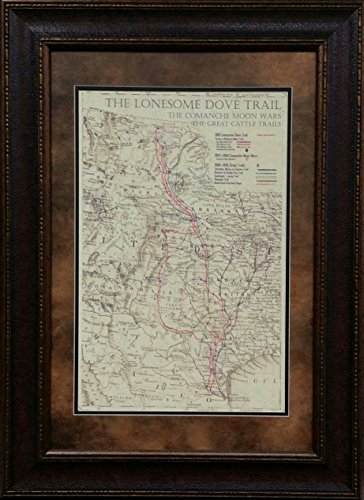 Wall Art Giant ANTIQUE AND HISTORIC MAPS - LONESOME DOVE TRAIL MAP - DOUBLE MAT - 26X32 INCHES
