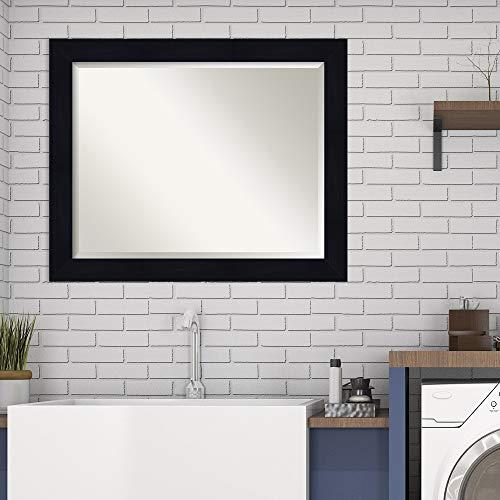 Amanti Art Framed Mirrors for Wall | Shiplap Navy Mirror for Wall | Solid Wood Wall Mirrors | Medium Wall Mirror 32.25 x 26.25