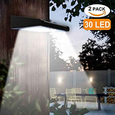 2 Pack 30 LED Solar Lights Outdoor, Avaspot?Upgraded Version?Solar Powered Security Light, Wireless Waterproof Motion Sensor Solar Light, Outdoor Wall Light for Patio, Deck, Garden, Garage