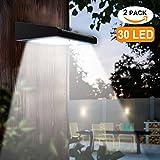 2 Pack 30 LED Solar Lights Outdoor, Avaspot?Upgraded Version?Solar Powered Security Light, Wireless Waterproof Motion Sensor Solar Light, Outdoor Wall Light for Patio, Deck, Garden, Garage