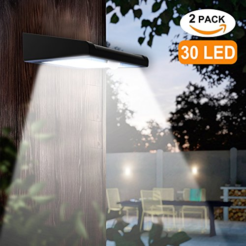 Solar Powered Light Fixture (2 Pack 30 LED Solar Lights Outdoor, Avaspot【Upgraded Version】Solar Powered Security Light, Wireless Waterproof Motion Sensor Solar Light, Outdoor Wall Light for Patio, Deck, Garden, Garage)