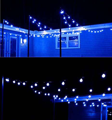 Commercial Grade G40 Frosted Globe Decorative String Lights,Longer Life Span,17 Ft 25 LED Blue Christmas Lights for Indoor Outdoor Use,2 Fuses Included by MAXINDA